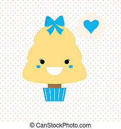 Cute love Kawaii Tree isolated on dotted background