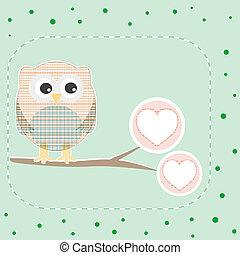 cute love owl on the branch vector birthday card