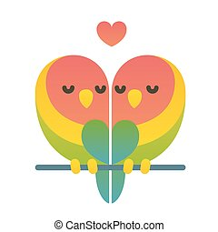 Cute lovebird couple. - Cute cartoon lovebird parrots couple...