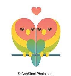 Cute cartoon lovebird parrots couple with heart shape. Valentine's day card vector illustration.