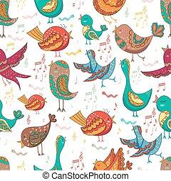 Bird Singing Summer Seamless Endless Vector Illustration