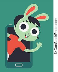 Cute Lover Bunny Girl Showing on Screen Phone