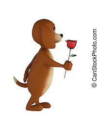 Cute lover valentine dog with rose isolated on white background. 3d render