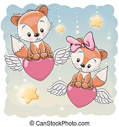 Cute Lovers Foxes