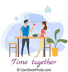 Cute loving couple at table, drinking tea or coffee and eating together at home. Daily life of cute happy couple. Male female characters. Vector illustration flat cartoon