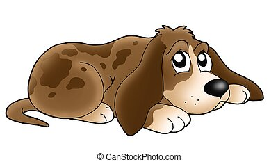 Cute lying dog - color illustration.