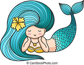 Cute lying dreamy mermaid with blue hair.