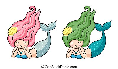 Cute lying dreamy mermaids with long hair.
