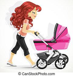 cute, mãe, com, um, cor-de-rosa, pram