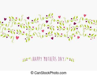 cute, mães, padrão, seamless, dia, feliz