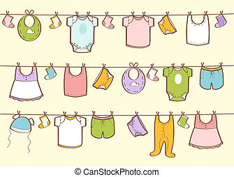 cute, mão, desenhado, roupas bebê