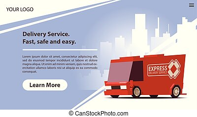 cute, móvel, app, entrega, carro., serviços, vermelho