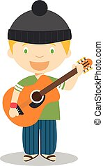 cute, músico, ilustração, guitarra, vetorial, caricatura