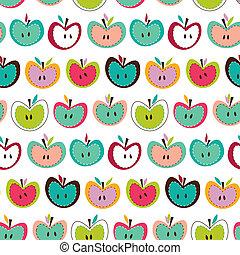 cute, maçã, seamless, padrão