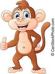 cute, macaco, caricatura, com, polegar cima