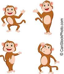 cute, macaco, caricatura
