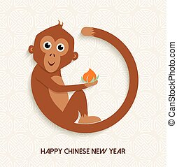 cute, macaco, chinês, ano, novo, 2016