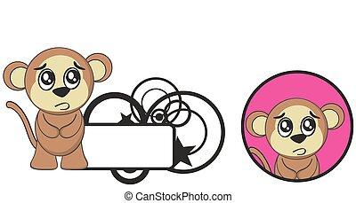 cute, macaco, expressão, cartoon1