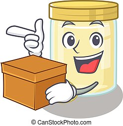 Cute macadamia nut butter cartoon character having a box