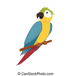 Cute macaw, ara parrot sitting on tree branch