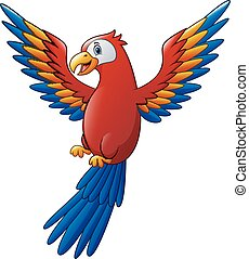 Cute macaw bird cartoon flying