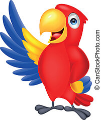 Vector illustration of cute macaw bird waving