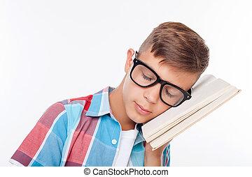 cute, macho, algo, aprender, tentando, adolescente