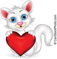cute, macio, gato branco, segurando, coração