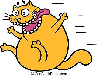 Cute mad cat flies with joy. Vector illustration
