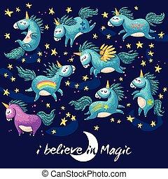 cute, magia, ilustração, vetorial, unicorn., caricatura, cartão
