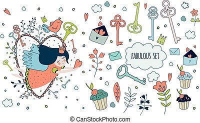 Cute magic collection with princess, unicorn, rainbow, dragon, f