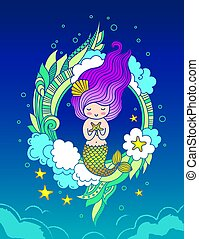 Cute magic mermaid with starfish, and long violet hair, surrounded by clouds, seaweeds.