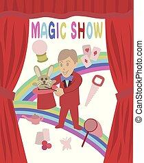 Cute magic show vector art