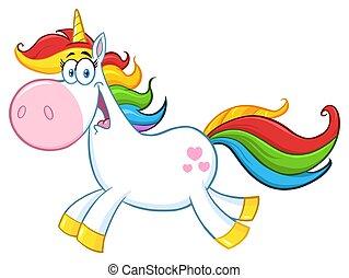 Cute Magic Unicorn Cartoon Mascot Character Running