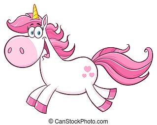 Cute Magic Unicorn Cartoon Mascot Character Running