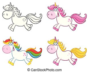 Cute Magic Unicorn Cartoon Mascot Character Set 1. Collection