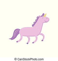 Cute magic unicorn cartoon vector Illustration on a white...
