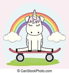 Cute magical unicorn in love on the skateboard.
