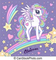 Cute magical unicorn on a rainbow among the stars. Vector