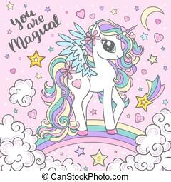 Cute magical unicorn on a rainbow. Isolated vector illustration.