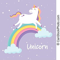 cute magical unicorn walking on rainbow animal cartoon