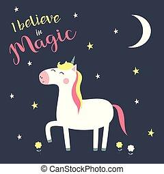 cute, magiske, enhjørning