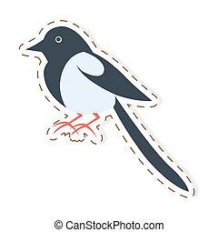 Cute Magpie Cartoon Flat Vector Sticker or Icon