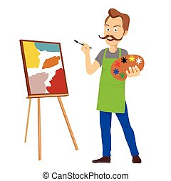 Cute male artist with big mustache holding color palette painting on canvas standing