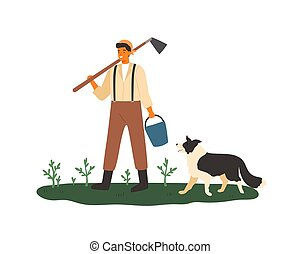 Cute male farmer holding hoe and bucket vector flat illustration. Smiling agricultural worker standing with dog on green grass with plants isolated on white. Agronomic man at farmland.