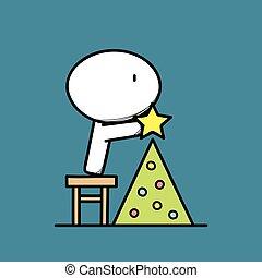 Cute man and Christmas tree 2