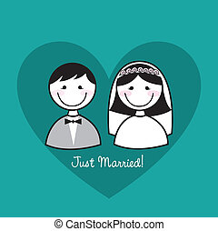just married - cute man and woman icons over heart, just...