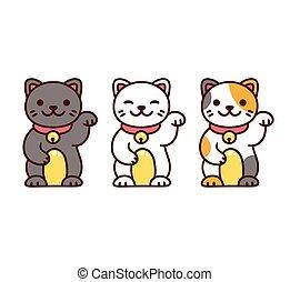 Cute Maneki Neko Cats - Cute cartoon Maneki Neko, Japanese...