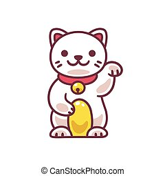 Cute Maneki Neko - Cute cartoon Maneki Neko, Japanese lucky...