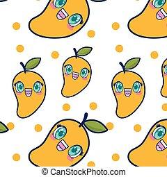cute mango fruit kawaii pattern
